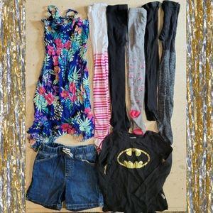 Girls Tights, Sundress, Batman Tee & Shorts Bundle